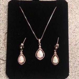 Kay Jewelers Opal Necklace + Earring Set